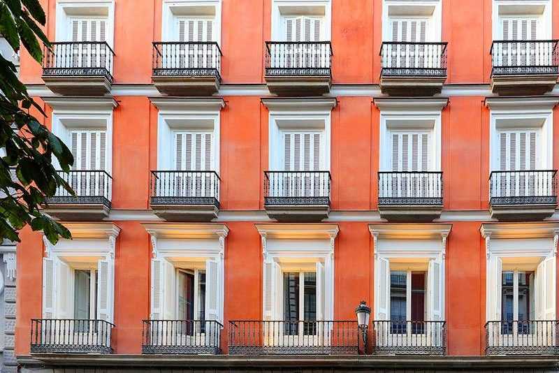 Axel Hotel Madrid facade in central Atocha street near Puerta del Sol