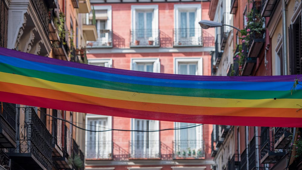 Gay Group Trips to Madrid with Influencers in June 2018 rainbow pride flag in gay chueca neighborhood