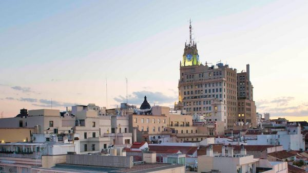 Gay Group Trips to Madrid with Influencers in May 2018 Telefonica Building Gran Via from Room Mate Oscar Hotel Rooftop