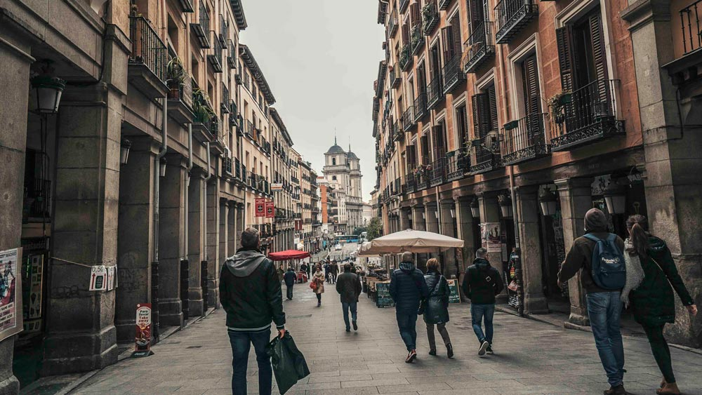 Gay Group Trips to Madrid with Influencers in October 2018 Toledo Street from Plaza Mayor in Autumn