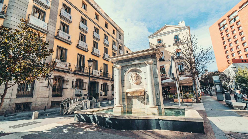 Gay Group Trips to Madrid with Influencers in September 2018 Fountain in Literary Quartier Barrio de las Letras